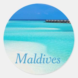 Tropical beach at Maldives Classic Round Sticker