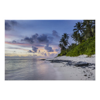 Tropical Beach at Sunset Poster