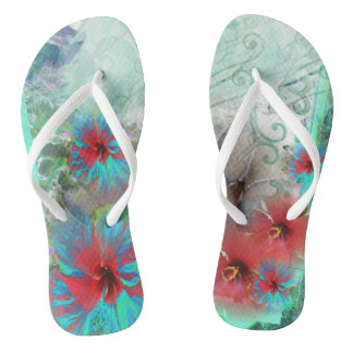 Tropical Beach  Blue Abstract Art Flip Flops