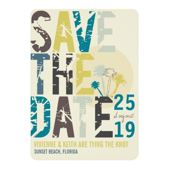 Tropical Beach Blue Palm Trees Photo Save The Date Card
