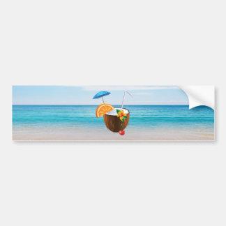 Tropical Beach,Blue Sky,Ocean Sand,Coconut Coctail Bumper Sticker