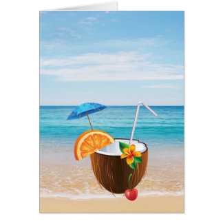 Tropical Beach,Blue Sky,Ocean Sand,Coconut Coctail Card