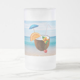 Tropical Beach,Blue Sky,Ocean Sand,Coconut Coctail Frosted Glass Beer Mug