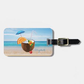 Tropical Beach,Blue Sky,Ocean Sand,Coconut Coctail Luggage Tag