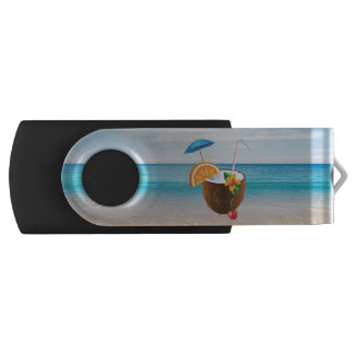 Tropical Beach,Blue Sky,Ocean Sand,Coconut Coctail USB Flash Drive