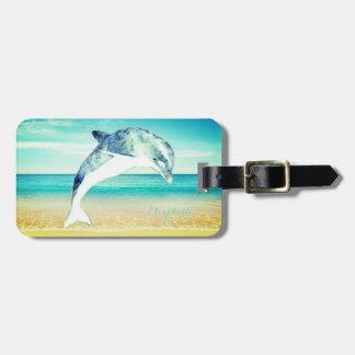 Tropical Beach,Blue Sky,Ocean Sand,Dolphin Luggage Tag