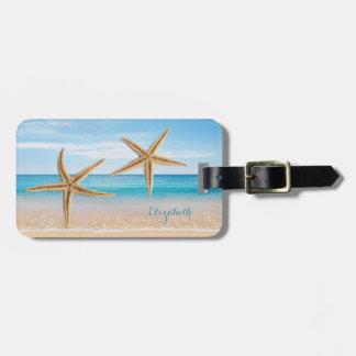 Tropical Beach,Blue Sky,Ocean Sand,Starfish Luggage Tag