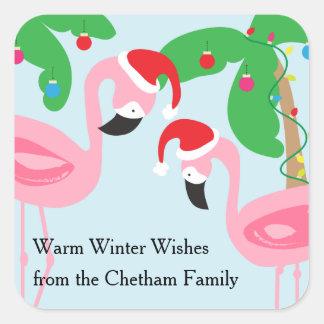 Tropical Beach Christmas Flamingos Birds Square Sticker