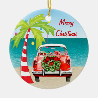 Tropical Beach Classic Car Christmas Ornament