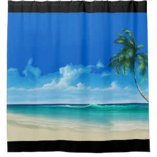 Tropical Beach Coastal Design Shower Curtain