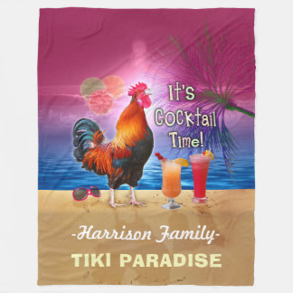 Tropical Beach Cocktail Bar Funny Rooster Chicken Fleece Blanket