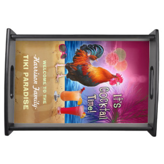 Tropical Beach Cocktail Bar Funny Rooster Chicken Serving Tray