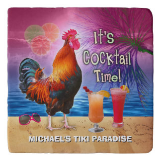 Tropical Beach Cocktail Bar Funny Rooster Chicken Trivet