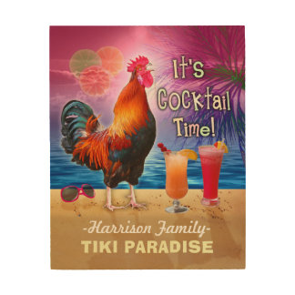 Tropical Beach Cocktail Bar Funny Rooster Chicken Wood Print