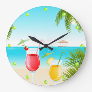 Tropical Beach Cocktail Round Wall Clock
