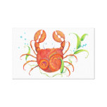 Tropical Beach Crab Canvas Wall Hanging Gallery Wrapped Canvas