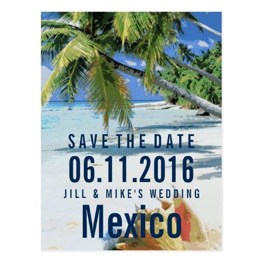 Tropical Beach Destination Save The Dates Postcard