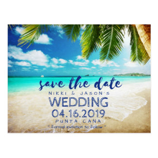Tropical Beach Destination Wedding Save the Dates Postcard