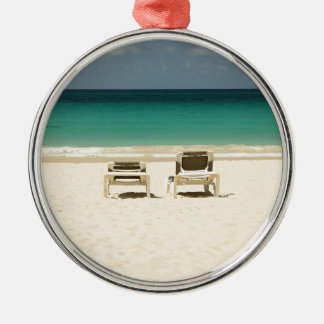 Tropical Beach Dominican Republic Silver-Colored Round Decoration