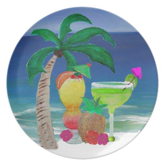 Tropical Beach Drinks Plate