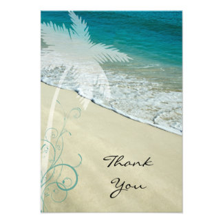 Tropical Beach Flat Thank You Note Card Personalized Invitations
