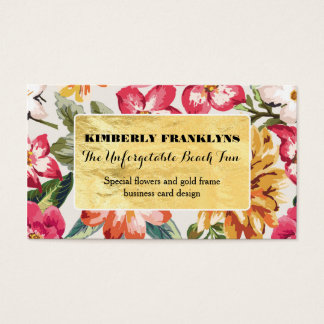 tropical beach floral destination wedding business card