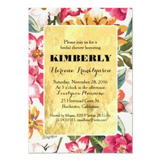 tropical beach flowers gold frame bridal shower card