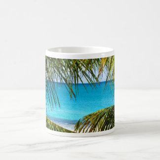 Tropical Beach framed with Palm Fronds Basic White Mug