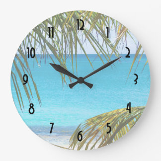 Tropical Beach framed with Palm Fronds Large Clock