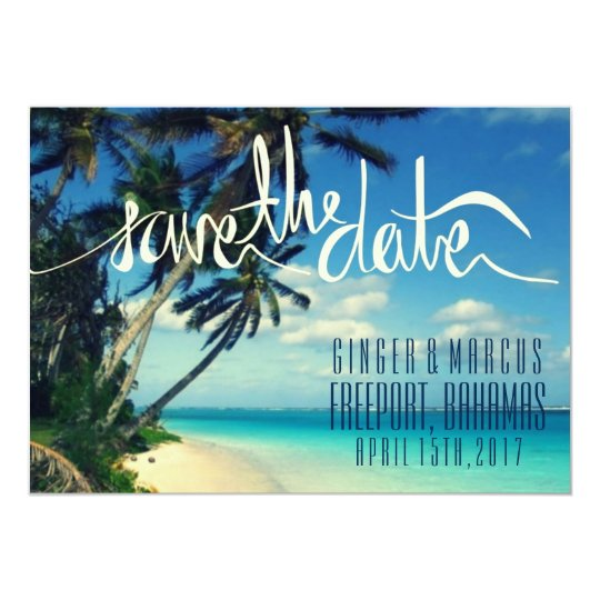 Tropical Beach Freeport, Bahamas Save the Date Card