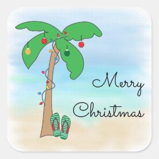 Tropical Beach Hawaiian Christmas Square Sticker