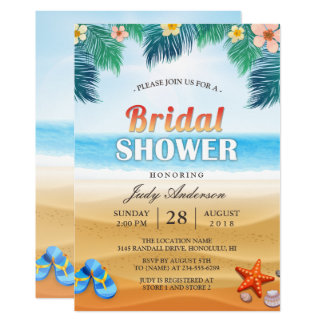 Tropical Beach Hawaiian Summer Bridal Shower 13 Cm X 18 Cm Invitation Card