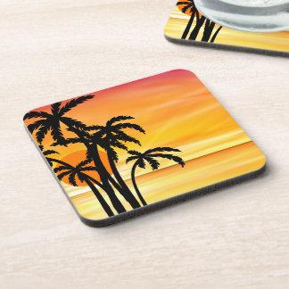 Tropical Beach Hawaiin Sunset Coaster