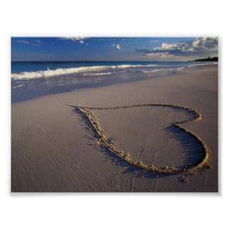 Tropical Beach Heart in Sand Valentine Poster