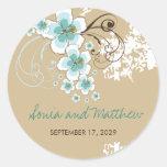 Tropical Beach Hibiscus Blue Wedding Favour