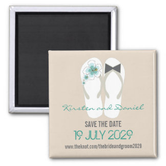 Tropical Beach Hibiscus Flip Flops Save The Date Square Magnet