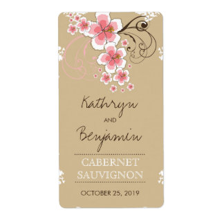 Tropical Beach Hibiscus Pink Wedding Wine Label Shipping Label