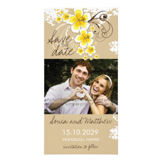 Tropical Beach Hibiscus Yellow Save The Date Card Customised Photo Card