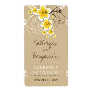 Tropical Beach Hibiscus Yellow Wedding Wine Label Shipping Label