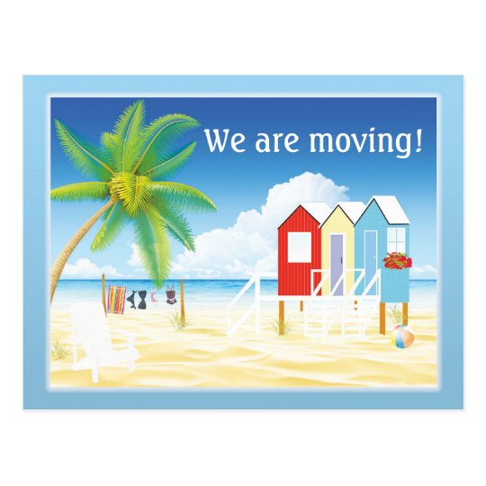 Tropical Beach Huts Change of Address Postcard
