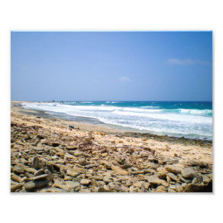Tropical beach landscape art, rocky beach artwork photo print