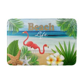 Tropical Beach Ocean Design with Flamingo Birds Bath Mat