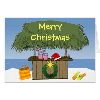 Tropical Beach Ocean Tiki Hut Bar Christmas Card