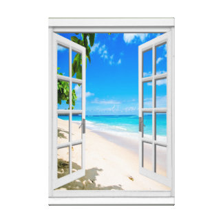Tropical Beach Ocean View Faux Window Canvas Print