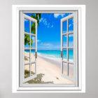 Tropical Beach Ocean View Faux Window Poster