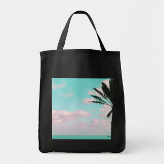 Tropical Beach, Ocean View, Pink Clouds, Palm