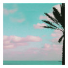 Tropical Beach, Ocean View, Pink Clouds, Palm Poster