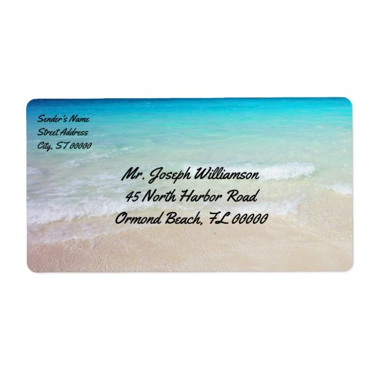 Tropical Beach Ocean Water Shipping Shipping Label
