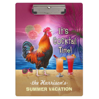 Tropical Beach or Cruise Vacation | Funny Rooster Clipboard