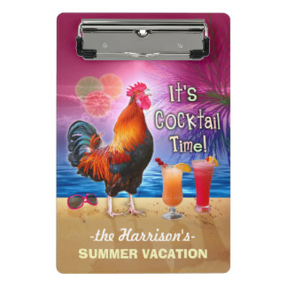 Tropical Beach or Cruise Vacation | Funny Rooster Mini Clipboard